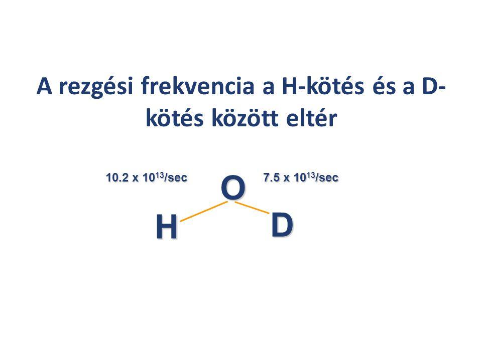 A rezgési frekvencia a H-kötés és a D- kötés között eltér H D O 10.2 x 10 13 /sec 7.5 x 10 13 /sec