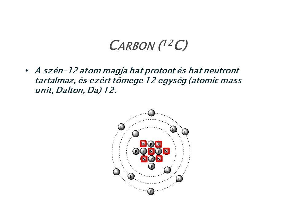 A szén-12 atom magja hat protont és hat neutront tartalmaz, és ezért tömege 12 egység (atomic mass unit, Dalton, Da) 12. C ARBON ( 12 C)