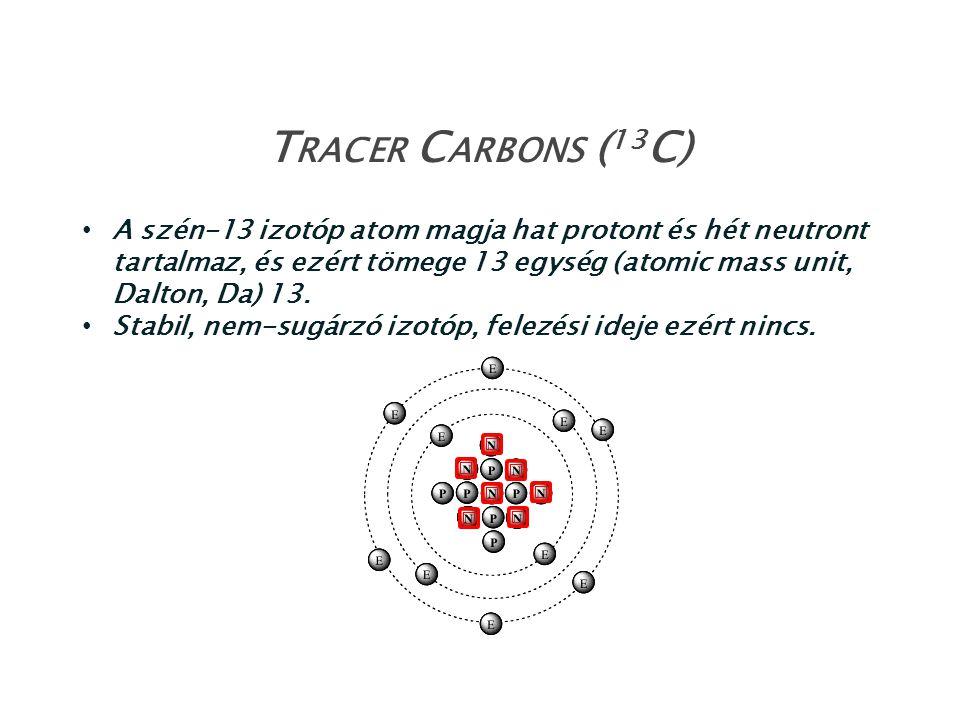 A szén-13 izotóp atom magja hat protont és hét neutront tartalmaz, és ezért tömege 13 egység (atomic mass unit, Dalton, Da) 13. Stabil, nem-sugárzó iz