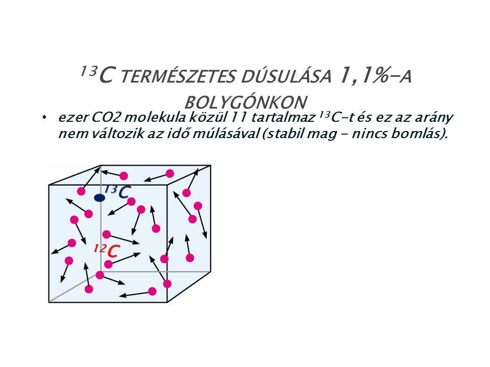 ezer CO2 molekula közül 11 tartalmaz 13 C-t és ez az arány nem változik az idő múlásával (stabil mag - nincs bomlás). 13 C TERMÉSZETES DÚSULÁSA 1,1%-