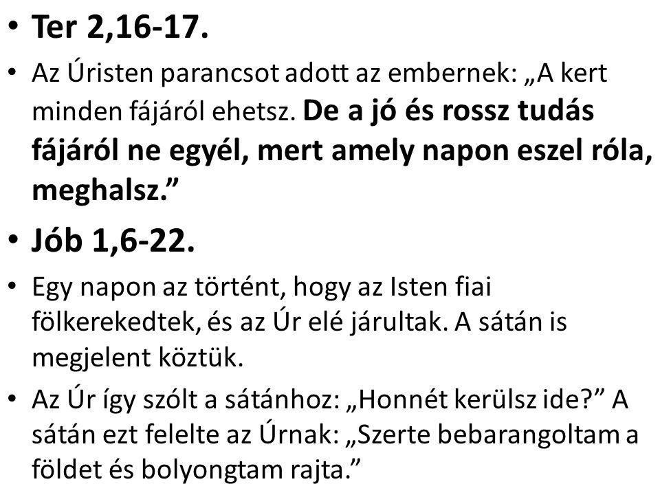 """Jób1,8-11 Akkor az Úr így szólt a sátánhoz: """"Felfigyeltél-e szolgámra, Jóbra."""