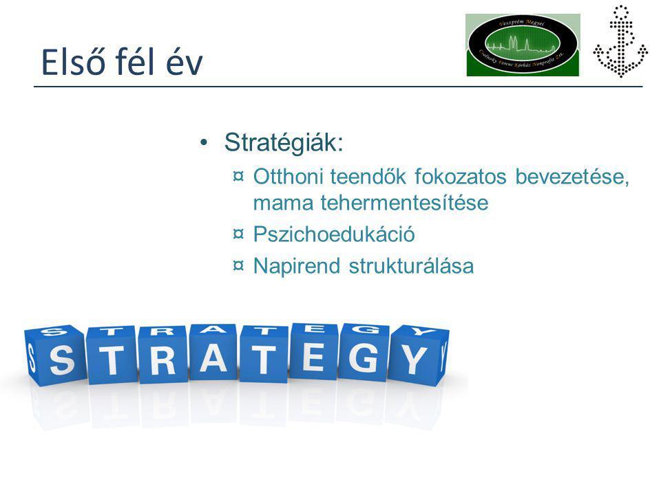 Első fél év Stratégiák: ¤Otthoni teendők fokozatos bevezetése, mama tehermentesítése ¤Pszichoedukáció ¤Napirend strukturálása