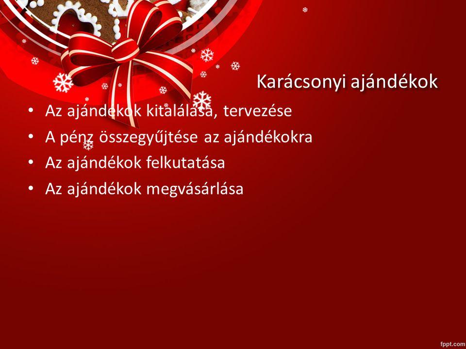Karácsonyi ajándékok Az ajándékok kitalálása, tervezése A pénz összegyűjtése az ajándékokra Az ajándékok felkutatása Az ajándékok megvásárlása