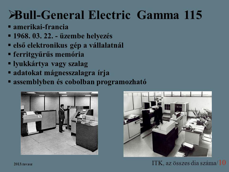 ITK, az összes dia száma/ 10 2013.tavasz  Bull-General Electric Gamma 115  amerikai-francia  1968. 03. 22. - üzembe helyezés  első elektronikus gé