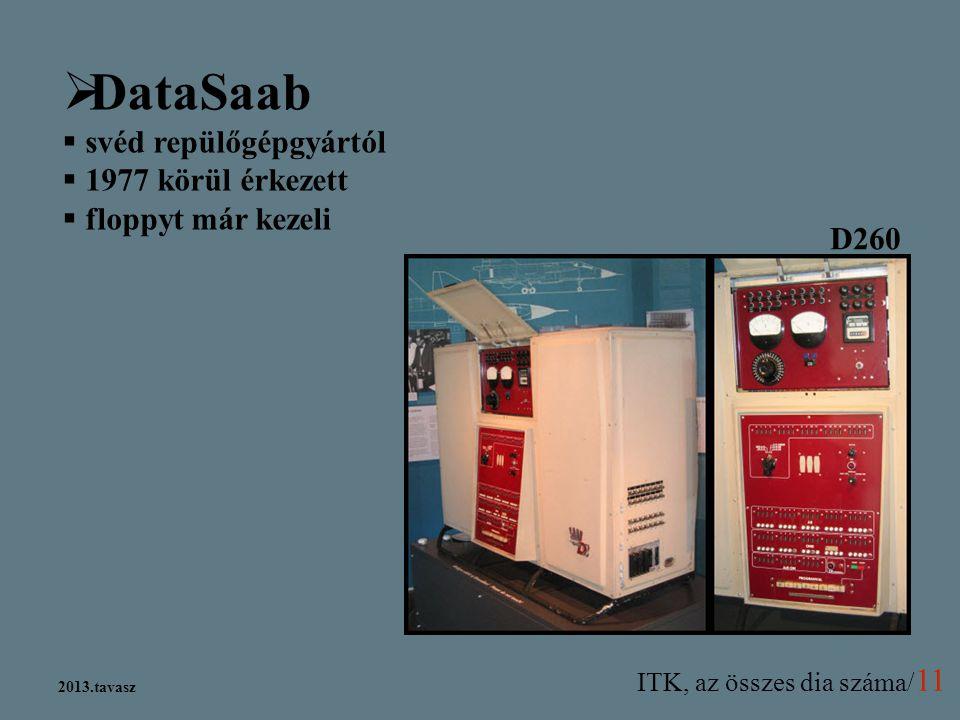 ITK, az összes dia száma/ 11 2013.tavasz  DataSaab  svéd repülőgépgyártól  1977 körül érkezett  floppyt már kezeli D260