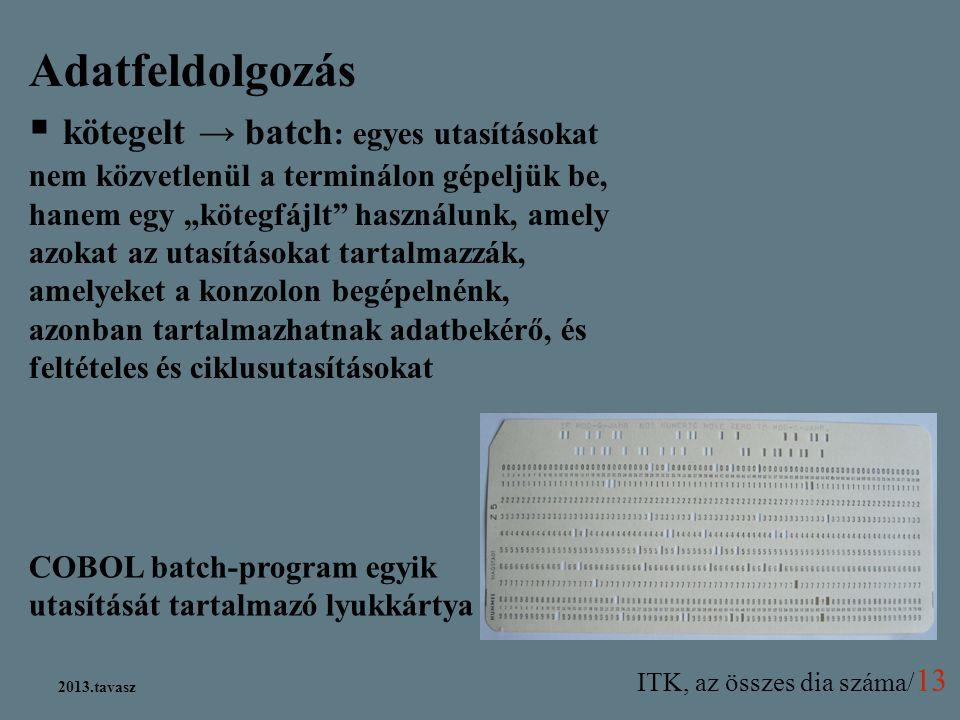 ITK, az összes dia száma/ 13 2013.tavasz COBOL batch-program egyik utasítását tartalmazó lyukkártya Adatfeldolgozás  kötegelt → batch : egyes utasítá