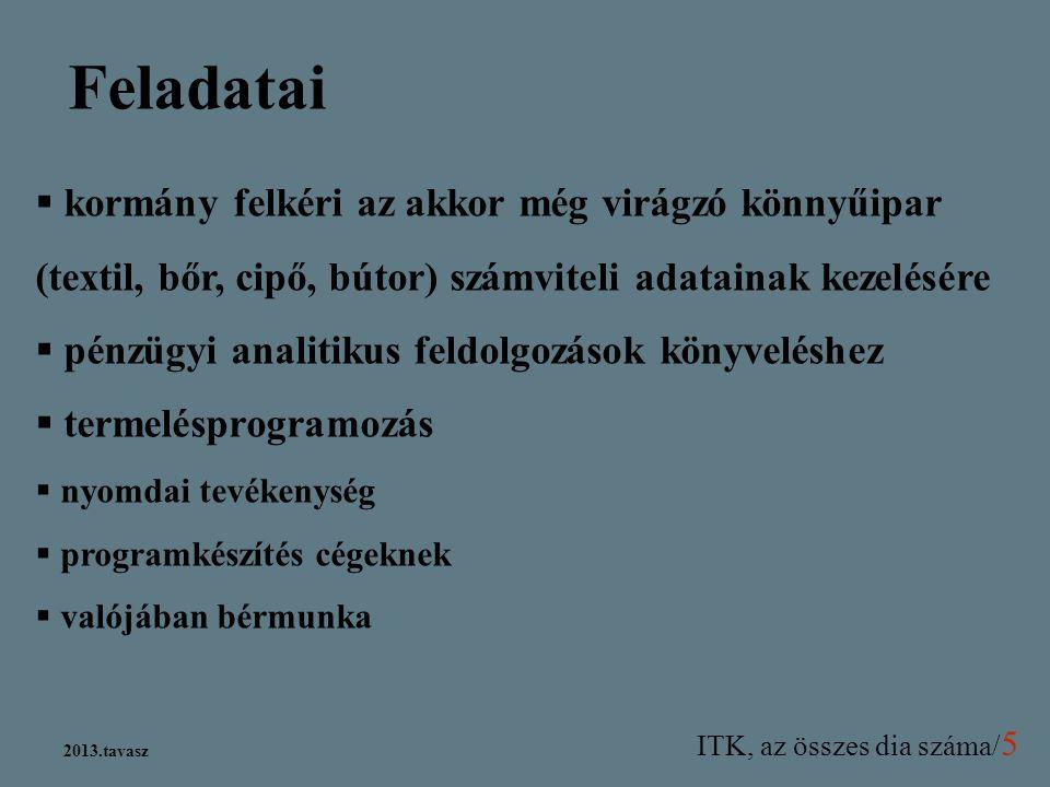 ITK, az összes dia száma/ 5 2013.tavasz Feladatai  kormány felkéri az akkor még virágzó könnyűipar (textil, bőr, cipő, bútor) számviteli adatainak ke