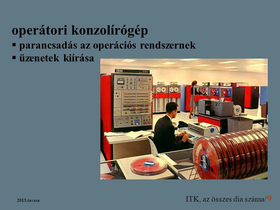 ITK, az összes dia száma/ 9 2013.tavasz operátori konzolírógép  parancsadás az operációs rendszernek  üzenetek kiírása