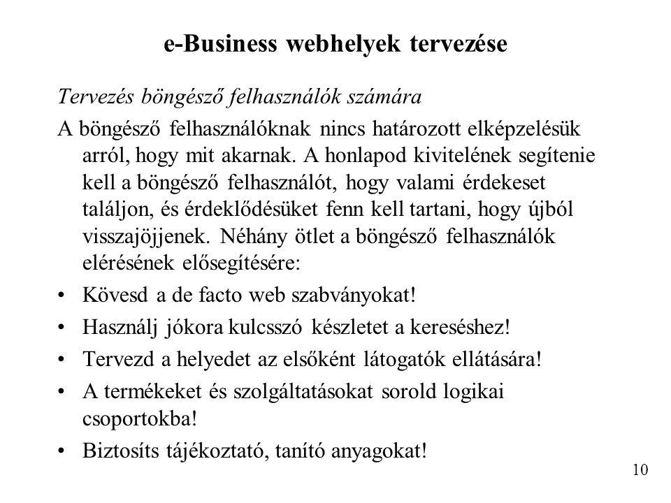 e-Business webhelyek tervezése Tervezés böngésző felhasználók számára A böngésző felhasználóknak nincs határozott elképzelésük arról, hogy mit akarnak.