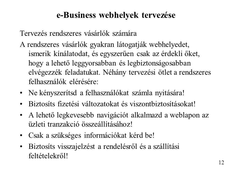 e-Business webhelyek tervezése Tervezés rendszeres vásárlók számára A rendszeres vásárlók gyakran látogatják webhelyedet, ismerik kínálatodat, és egys