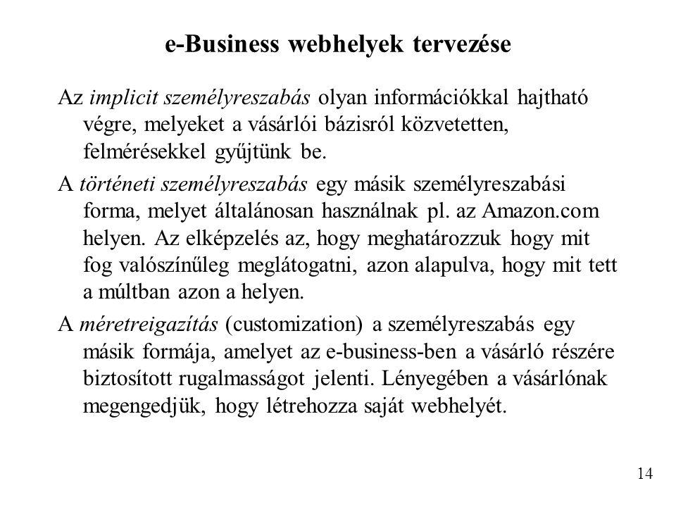 e-Business webhelyek tervezése Az implicit személyreszabás olyan információkkal hajtható végre, melyeket a vásárlói bázisról közvetetten, felmérésekkel gyűjtünk be.