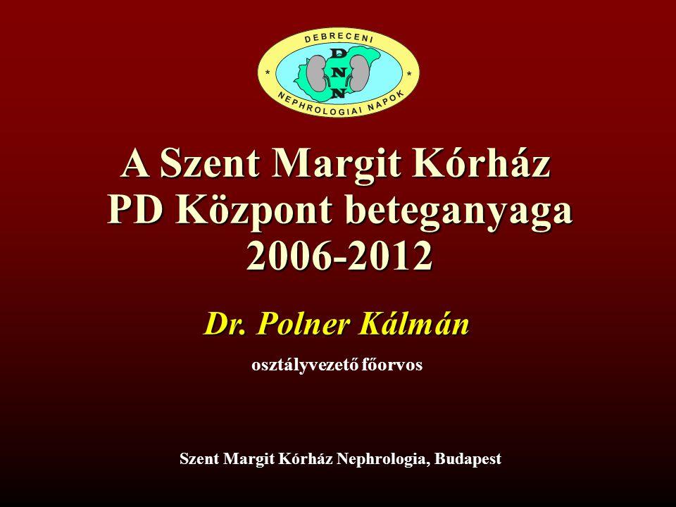A Szent Margit Kórház PD Központ beteganyaga 2006-2012 Szent Margit Kórház Nephrologia, Budapest Dr. Polner Kálmán osztályvezető főorvos