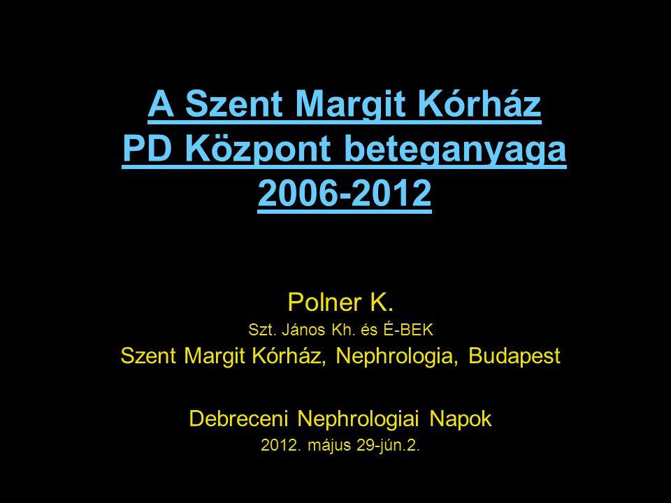A Szent Margit Kórház PD Központ beteganyaga 2006-2012 Polner K. Szt. János Kh. és É-BEK Szent Margit Kórház, Nephrologia, Budapest Debreceni Nephrolo