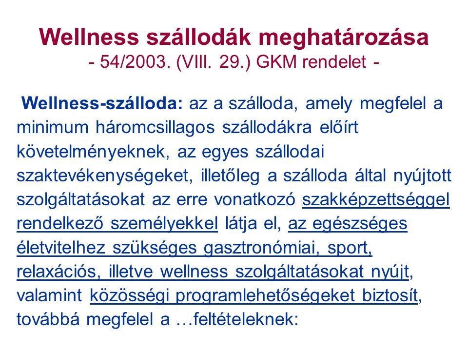 Wellness szállodák meghatározása - 54/2003. (VIII.