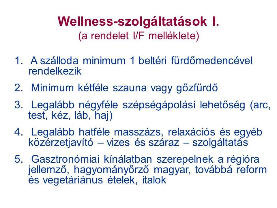 Wellness-szolgáltatások I. (a rendelet I/F melléklete) 1.