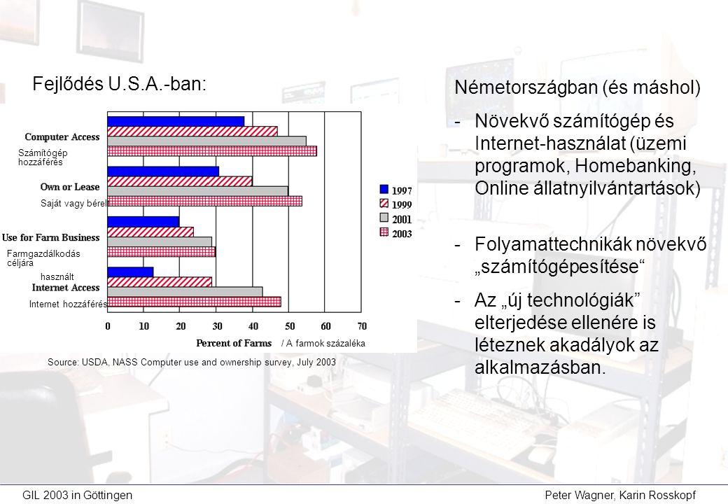 """GIL 2003 in Göttingen Peter Wagner, Karin Rosskopf Németországban (és máshol) -Növekvő számítógép és Internet-használat (üzemi programok, Homebanking, Online állatnyilvántartások) -Folyamattechnikák növekvő """"számítógépesítése -Az """"új technológiák elterjedése ellenére is léteznek akadályok az alkalmazásban."""