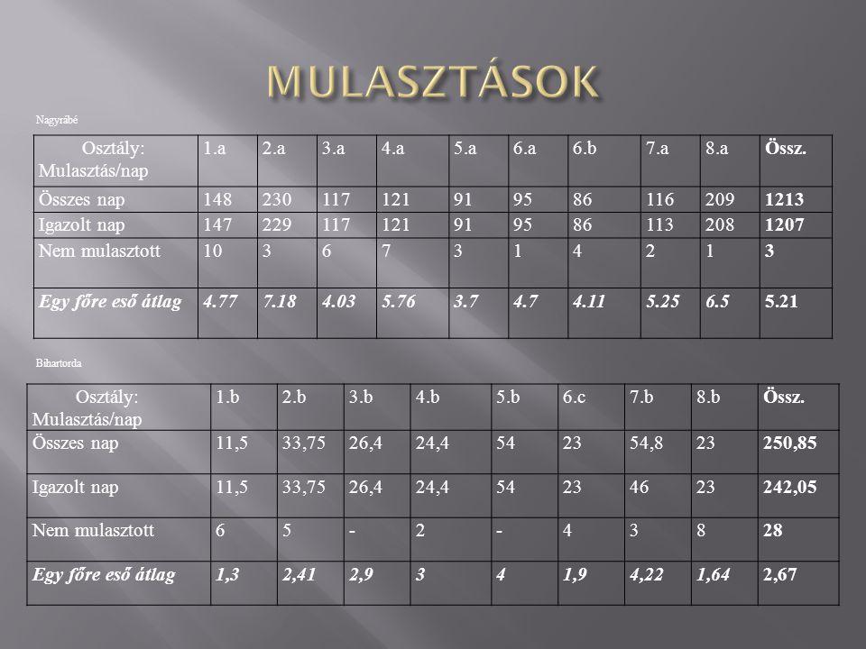 Nagyrábé Bihartorda Osztály: Mulasztás/nap 1.b2.b3.b4.b5.b6.c7.b8.bÖssz.
