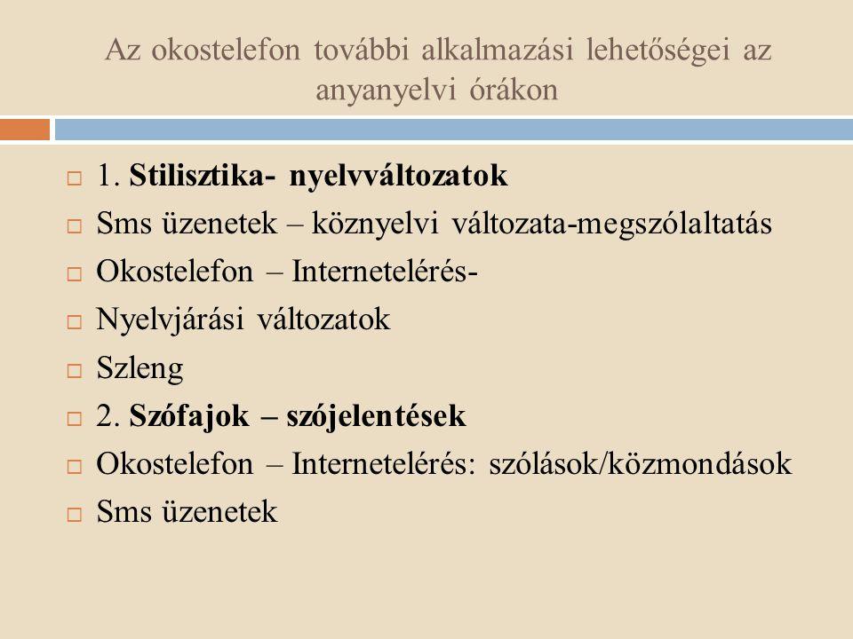 Az okostelefon további alkalmazási lehetőségei az anyanyelvi órákon  1. Stilisztika- nyelvváltozatok  Sms üzenetek – köznyelvi változata-megszólalta