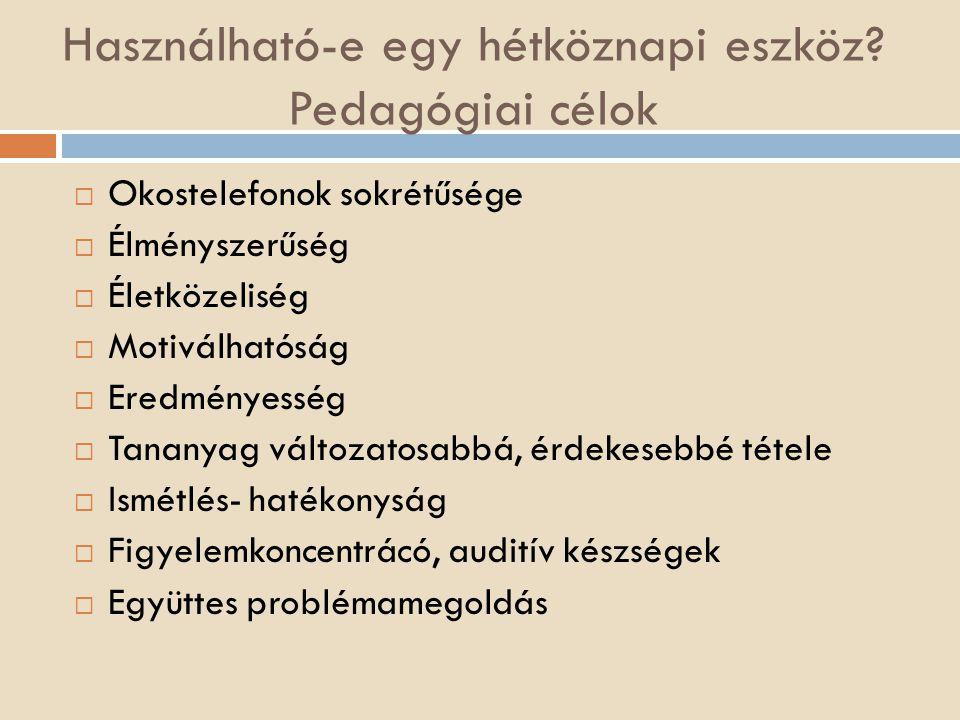 Témakörök, kulcskompetenciák, célcsoport, eszközök, módszer  Témakörök: Magyar nyelv : hangtan, helyesírás  Kulcskompetenciák: Anyanyelvi kommunikáció Hatékony önálló tanulás, munkavégzés Kezdeményezőkészség, vállalkozói kedv  Célcsoport: középiskolások gyengébb és jobb képességű csoportok  Eszközök: mobiltelefon, internet, (kivetítő)  Módszer alkalmazása: tematikus terv  Munkaformák: páros tanulócsoportok közötti