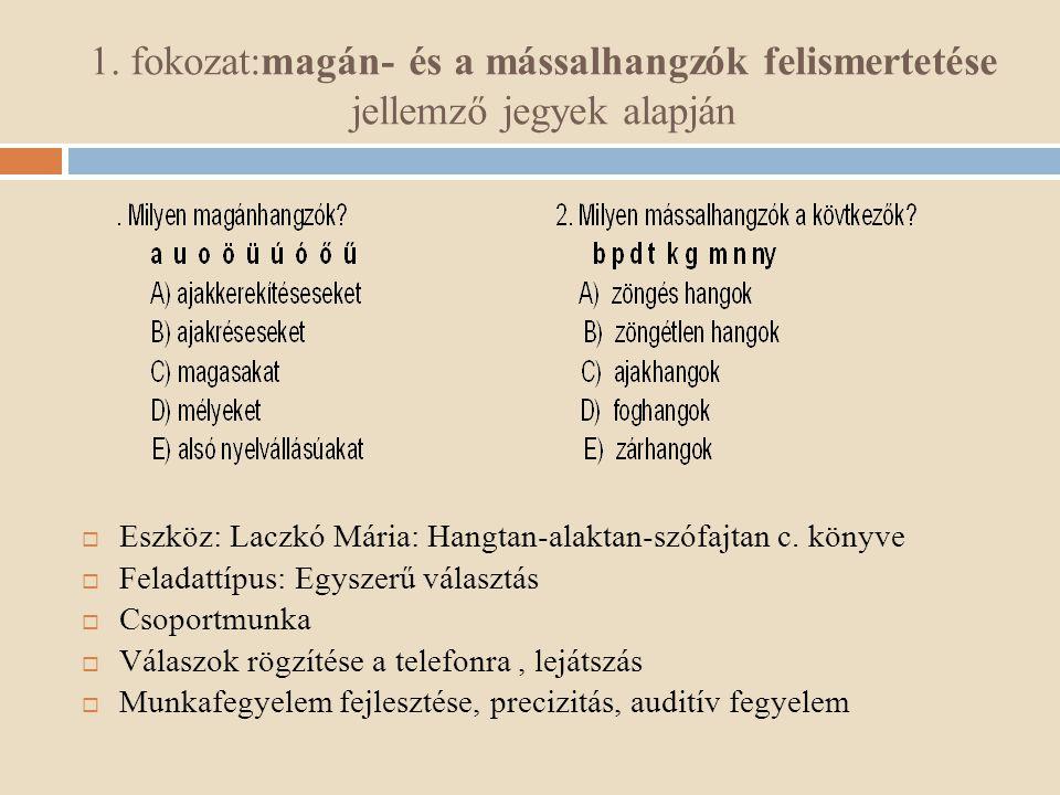 1. fokozat:magán- és a mássalhangzók felismertetése jellemző jegyek alapján  Eszköz: Laczkó Mária: Hangtan-alaktan-szófajtan c. könyve  Feladattípus