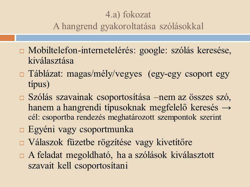 4.a) fokozat A hangrend gyakoroltatása szólásokkal  Mobiltelefon-internetelérés: google: szólás keresése, kiválasztása  Táblázat: magas/mély/vegyes (egy-egy csoport egy típus)  Szólás szavainak csoportosítása –nem az összes szó, hanem a hangrendi típusoknak megfelelő keresés → cél: csoportba rendezés meghatározott szempontok szerint  Egyéni vagy csoportmunka  Válaszok füzetbe rögzítése vagy kivetítőre  A feladat megoldható, ha a szólások kiválasztott szavait kell csoportosítani