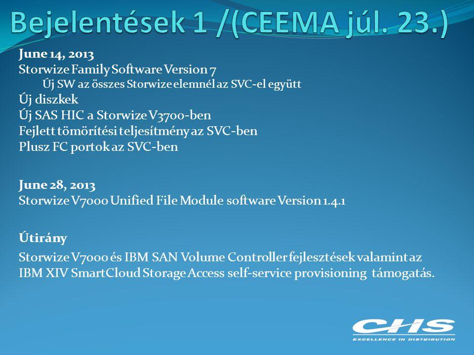 June 14, 2013 Storwize Family Software Version 7 Új SW az összes Storwize elemnél az SVC-el együtt Új diszkek Új SAS HIC a Storwize V3700-ben Fejlett tömörítési teljesítmény az SVC-ben Plusz FC portok az SVC-ben June 28, 2013 Storwize V7000 Unified File Module software Version 1.4.1 Útirány Storwize V7000 és IBM SAN Volume Controller fejlesztések valamint az IBM XIV SmartCloud Storage Access self-service provisioning támogatás.