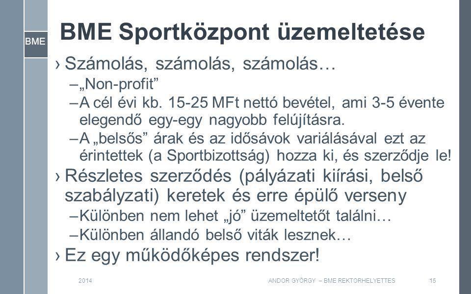 """BME BME Sportközpont üzemeltetése ›Számolás, számolás, számolás… –""""Non-profit –A cél évi kb."""