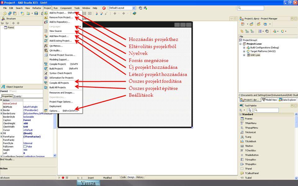Hozzáadás projekthez Eltávolítás projektből Nyelvek Forrás megnézése Új projekt hozzáadása Létező projekt hozzáadása Összes projekt fordítása Összes p