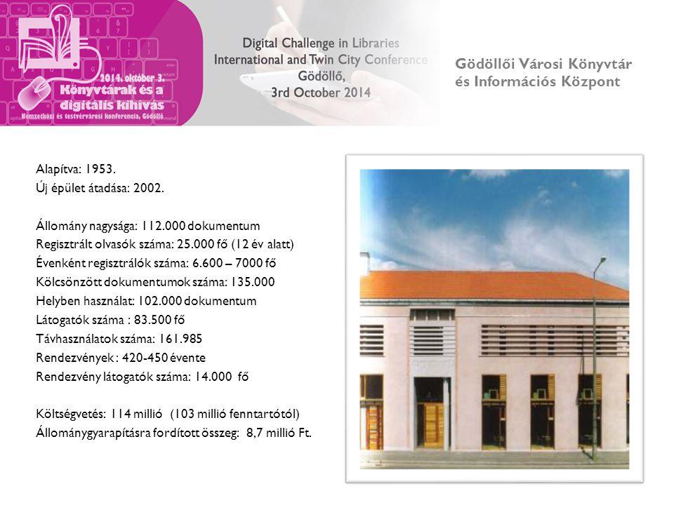 Gödöllői Városi Könyvtár és Információs Központ Alapítva: 1953. Új épület átadása: 2002. Állomány nagysága: 112.000 dokumentum Regisztrált olvasók szá