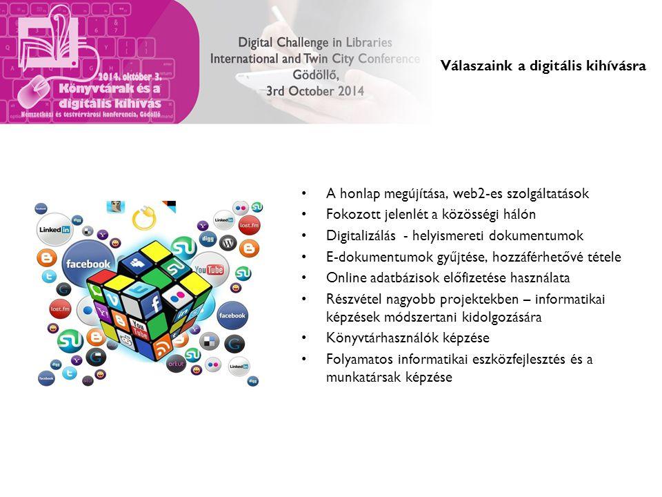 Válaszaink a digitális kihívásra A honlap megújítása, web2-es szolgáltatások Fokozott jelenlét a közösségi hálón Digitalizálás - helyismereti dokumentumok E-dokumentumok gyűjtése, hozzáférhetővé tétele Online adatbázisok előfizetése használata Részvétel nagyobb projektekben – informatikai képzések módszertani kidolgozására Könyvtárhasználók képzése Folyamatos informatikai eszközfejlesztés és a munkatársak képzése