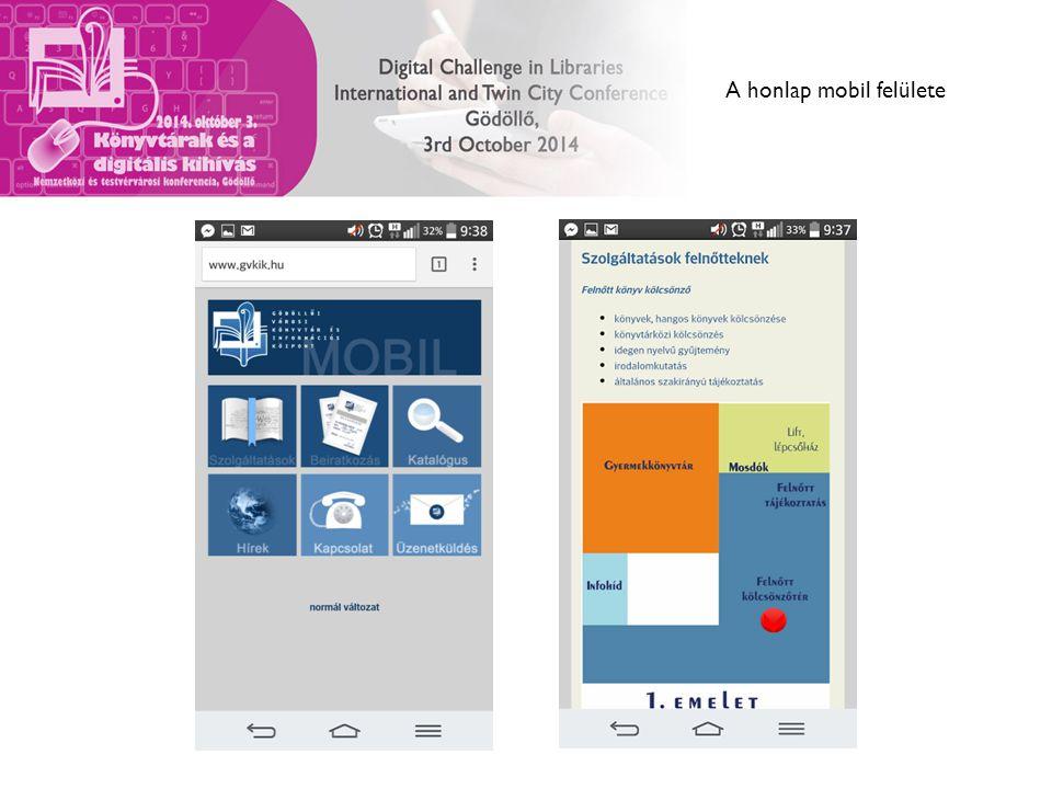 A honlap mobil felülete
