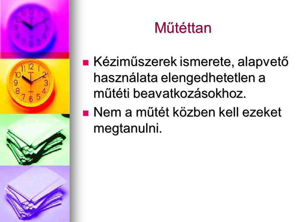 Műtéttan Kéziműszerek ismerete, alapvető használata elengedhetetlen a műtéti beavatkozásokhoz. Kéziműszerek ismerete, alapvető használata elengedhetet