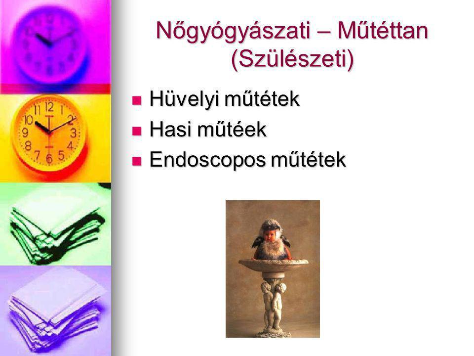 Nőgyógyászati – Műtéttan (Szülészeti) Hüvelyi műtétek Hüvelyi műtétek Hasi műtéek Hasi műtéek Endoscopos műtétek Endoscopos műtétek
