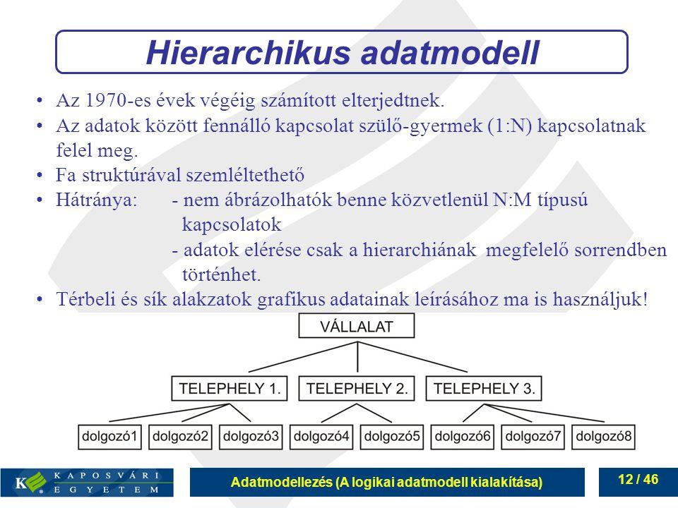 Adatmodellezés (A logikai adatmodell kialakítása) 12 / 46 Hierarchikus adatmodell Az 1970-es évek végéig számított elterjedtnek. Az adatok között fenn