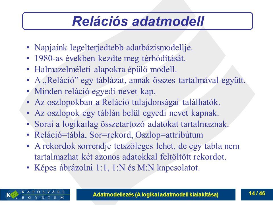 Adatmodellezés (A logikai adatmodell kialakítása) 14 / 46 Napjaink legelterjedtebb adatbázismodellje. 1980-as években kezdte meg térhódítását. Halmaze