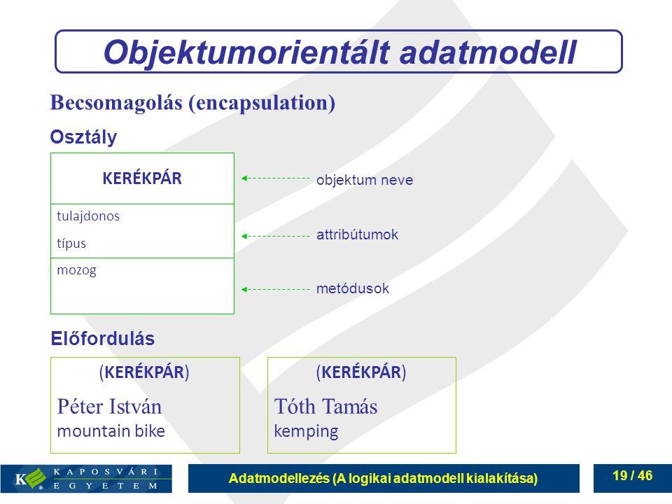 Adatmodellezés (A logikai adatmodell kialakítása) 19 / 46 Objektumorientált adatmodell KERÉKPÁR tulajdonos típus mozog objektum neve attribútumok metó