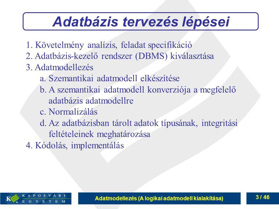 Adatmodellezés (A logikai adatmodell kialakítása) 3 / 46 Adatbázis tervezés lépései 1. Követelmény analízis, feladat specifikáció 2. Adatbázis-kezelő
