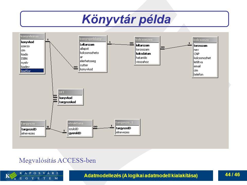 Adatmodellezés (A logikai adatmodell kialakítása) 44 / 46 Könyvtár példa Megvalósítás ACCESS-ben