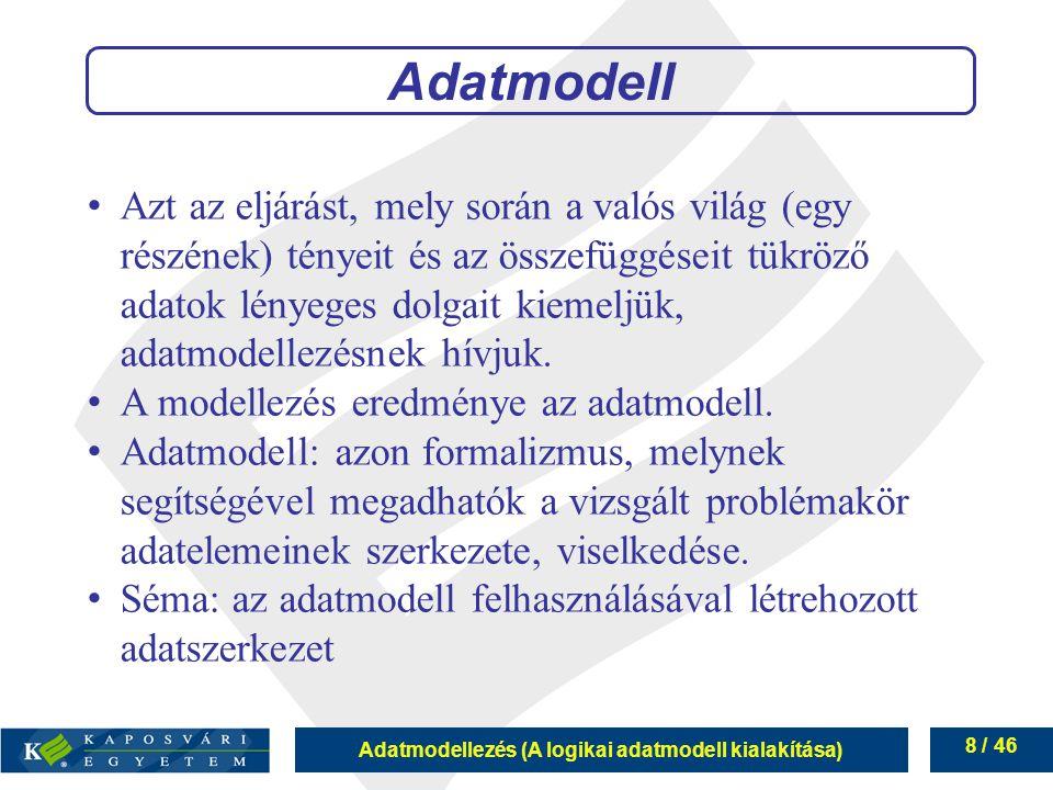 Adatmodellezés (A logikai adatmodell kialakítása) 9 / 46 Adatmodellek típusai szemantikai adatmodellek: emberközeli, lényeget emelik ki, pontatlan adatbázis adatmodellek: gépközeli, megadja a részleteket, teljes absztrakciós szint szerint az egyes szinteken több különböző eszközkészletű modell él