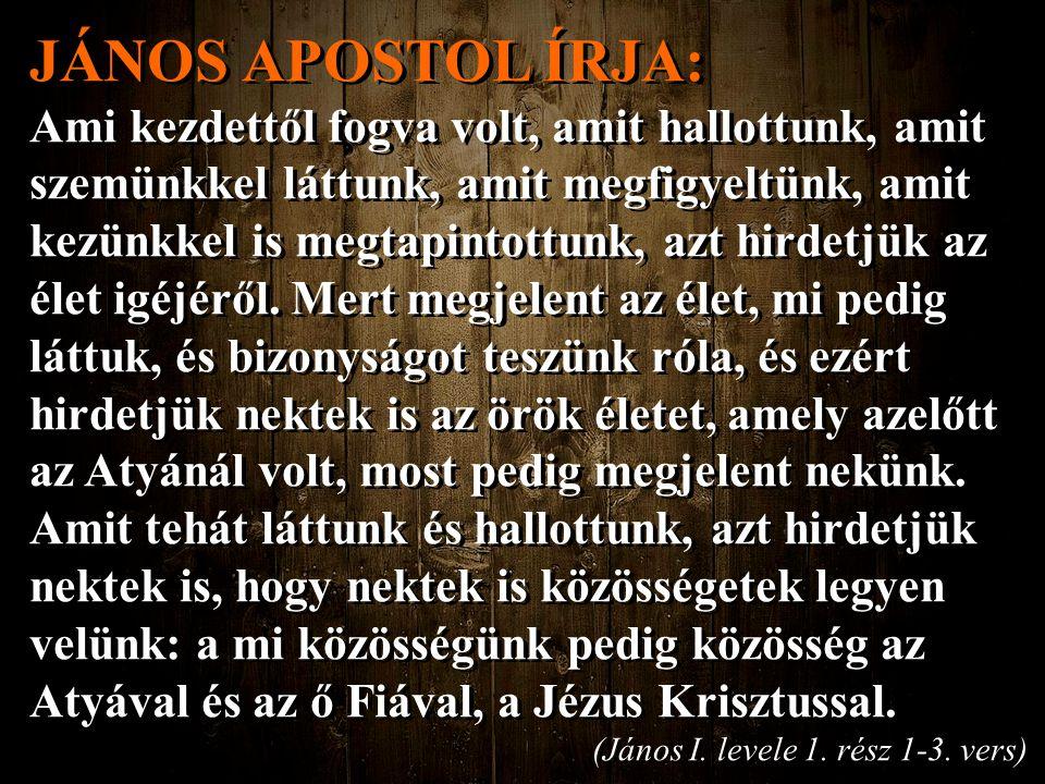 JÁNOS APOSTOL ÍRJA: Ami kezdettől fogva volt, amit hallottunk, amit szemünkkel láttunk, amit megfigyeltünk, amit kezünkkel is megtapintottunk, azt hir