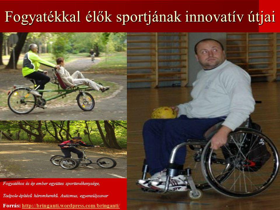 Fogyatékkal élők sportjának innovatív útjai Fogyatékos és ép ember együttes sporttevékenysége, Tadpole-építésű háromkerekű.