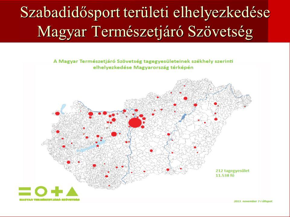 Szabadidősport területi elhelyezkedése Magyar Természetjáró Szövetség
