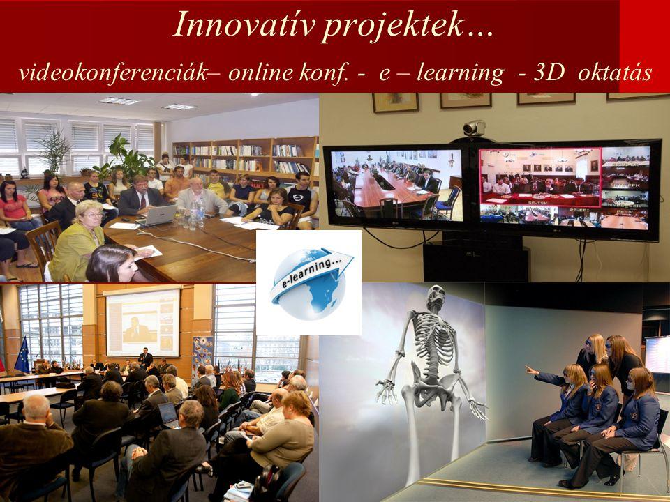 Innovatív projektek… videokonferenciák– online konf. - e – learning - 3D oktatás
