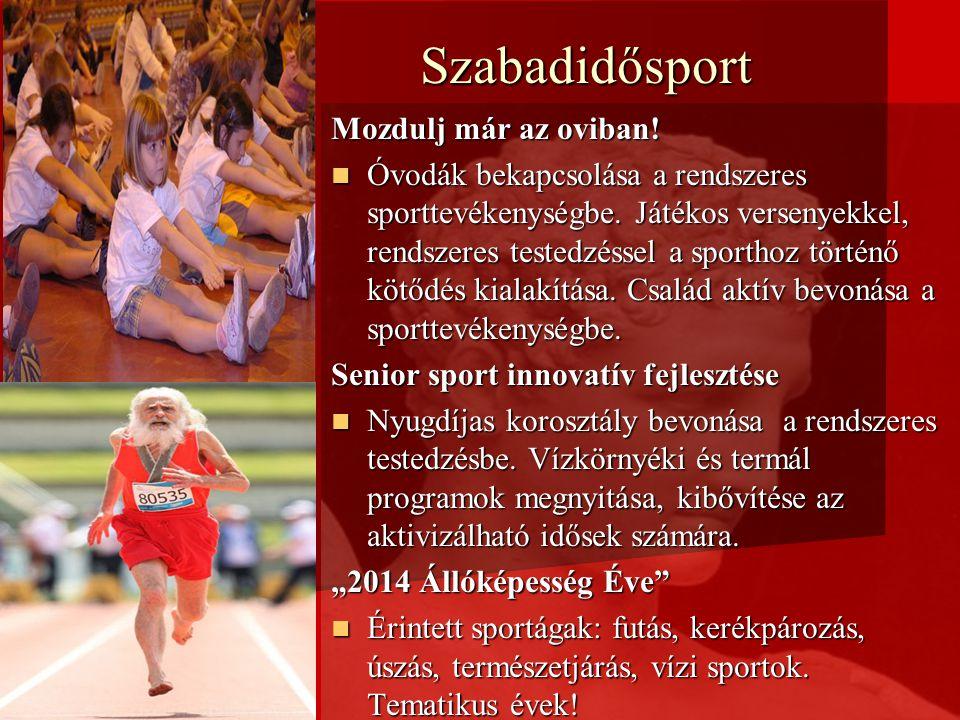 Szabadidősport Mozdulj már az oviban! Óvodák bekapcsolása a rendszeres sporttevékenységbe. Játékos versenyekkel, rendszeres testedzéssel a sporthoz tö