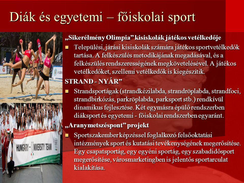 """Diák és egyetemi – főiskolai sport """"Sikerélmény Olimpia kisiskolák játékos vetélkedője Települési, járási kisiskolák számára játékos sportvetélkedők tartása."""