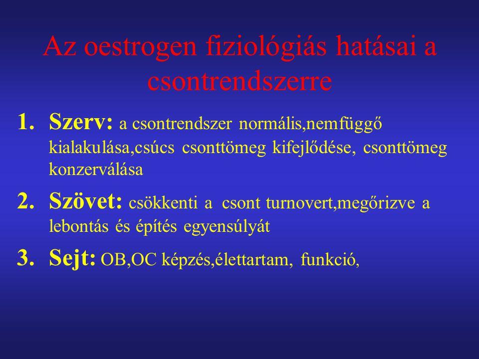 Az oestrogen fiziológiás hatásai a csontrendszerre 1.Szerv: a csontrendszer normális,nemfüggő kialakulása,csúcs csonttömeg kifejlődése, csonttömeg konzerválása 2.Szövet: csökkenti a csont turnovert,megőrizve a lebontás és építés egyensúlyát 3.Sejt: OB,OC képzés,élettartam, funkció,