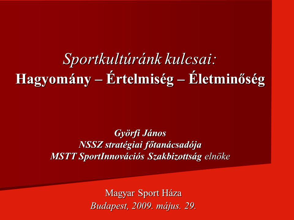 Sportkultúránk kulcsai: Hagyomány – Értelmiség – Életminőség Györfi János NSSZ stratégiai főtanácsadója MSTT SportInnovációs Szakbizottság elnöke Magy