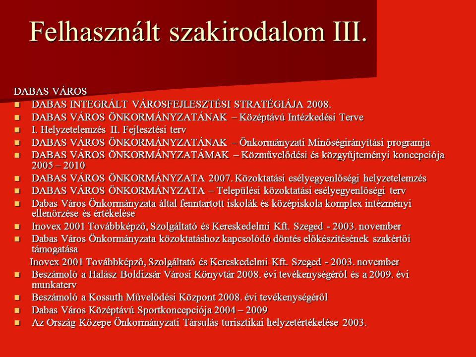 Felhasznált szakirodalom III. DABAS VÁROS DABAS INTEGRÁLT VÁROSFEJLESZTÉSI STRATÉGIÁJA 2008. DABAS INTEGRÁLT VÁROSFEJLESZTÉSI STRATÉGIÁJA 2008. DABAS