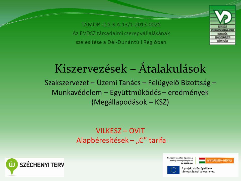 """TÁMOP -2.5.3.A-13/1-2013-0025 Az EVDSZ társadalmi szerepvállalásának szélesítése a Dél-Dunántúli Régióban 12 Kiszervezések – Átalakulások Szakszervezet – Üzemi Tanács – Felügyelő Bizottság – Munkavédelem – Együttműködés – eredmények (Megállapodások – KSZ) VILKESZ – OVIT Alapbéresítések – """"C tarifa"""