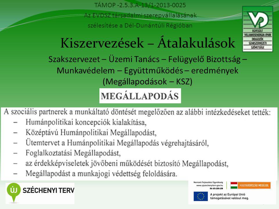 TÁMOP -2.5.3.A-13/1-2013-0025 Az EVDSZ társadalmi szerepvállalásának szélesítése a Dél-Dunántúli Régióban 13 Kiszervezések – Átalakulások Szakszervezet – Üzemi Tanács – Felügyelő Bizottság – Munkavédelem – Együttműködés – eredmények (Megállapodások – KSZ)